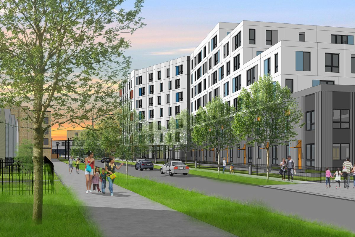 A rendering of Bickerdike Redevelopment's Emmett Street project, which will include 100 units. The design is by Landon Bone Baker Architects.