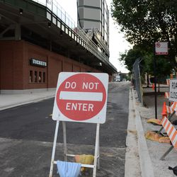 Mon 5:24 p.m. Temporary DO NOT ENTER sign, on westbound Waveland -