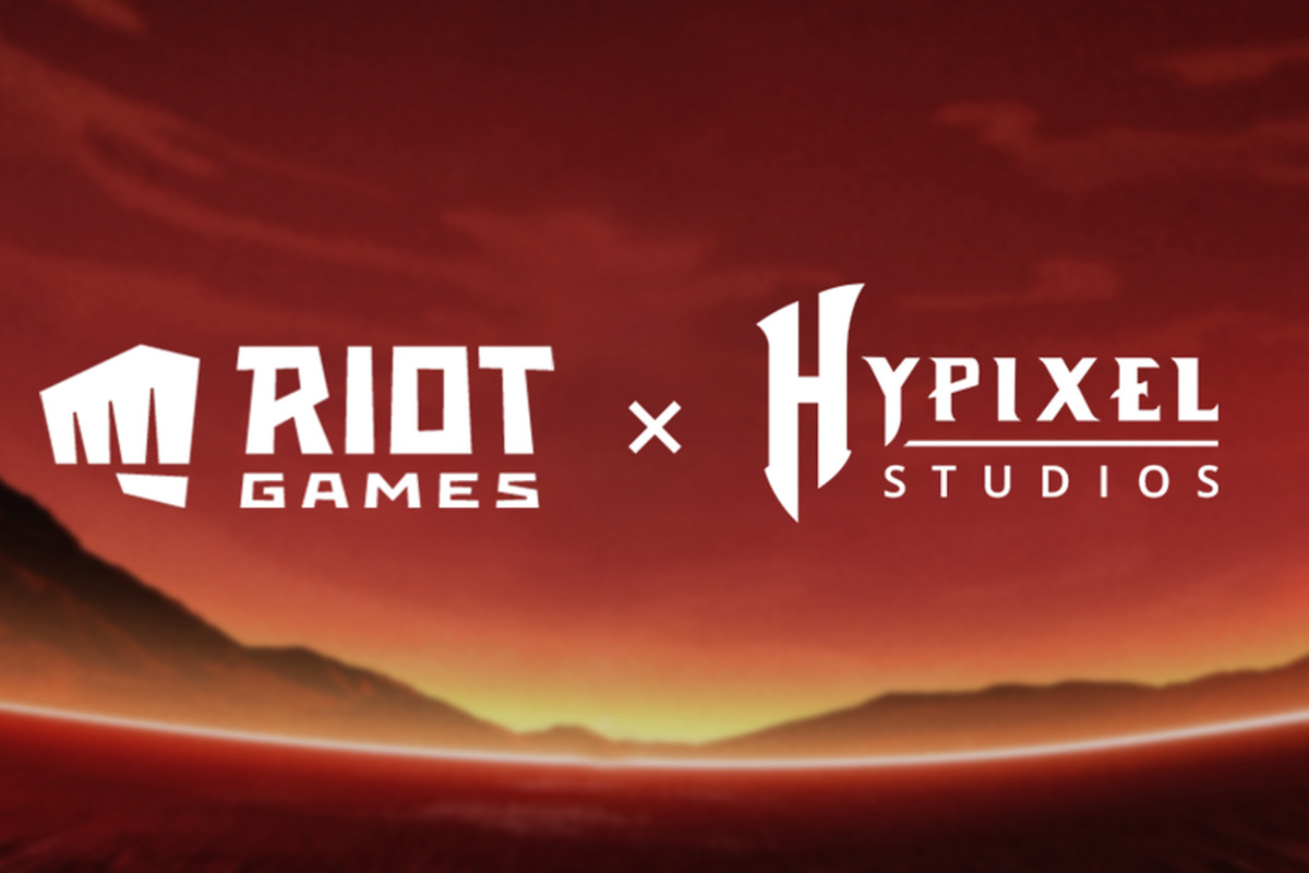 Riot Games logo with a first and Hypixel Studios logo on a red sunset background