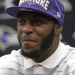 Baltimore Ravens running back Bernard Pierce listens to a reporter's question during a news conference at the team's training facility in Owings Mills, Md., Saturday, April 28, 2012. Pierce was the 84th overall pick in the third round of the NFL football draft.