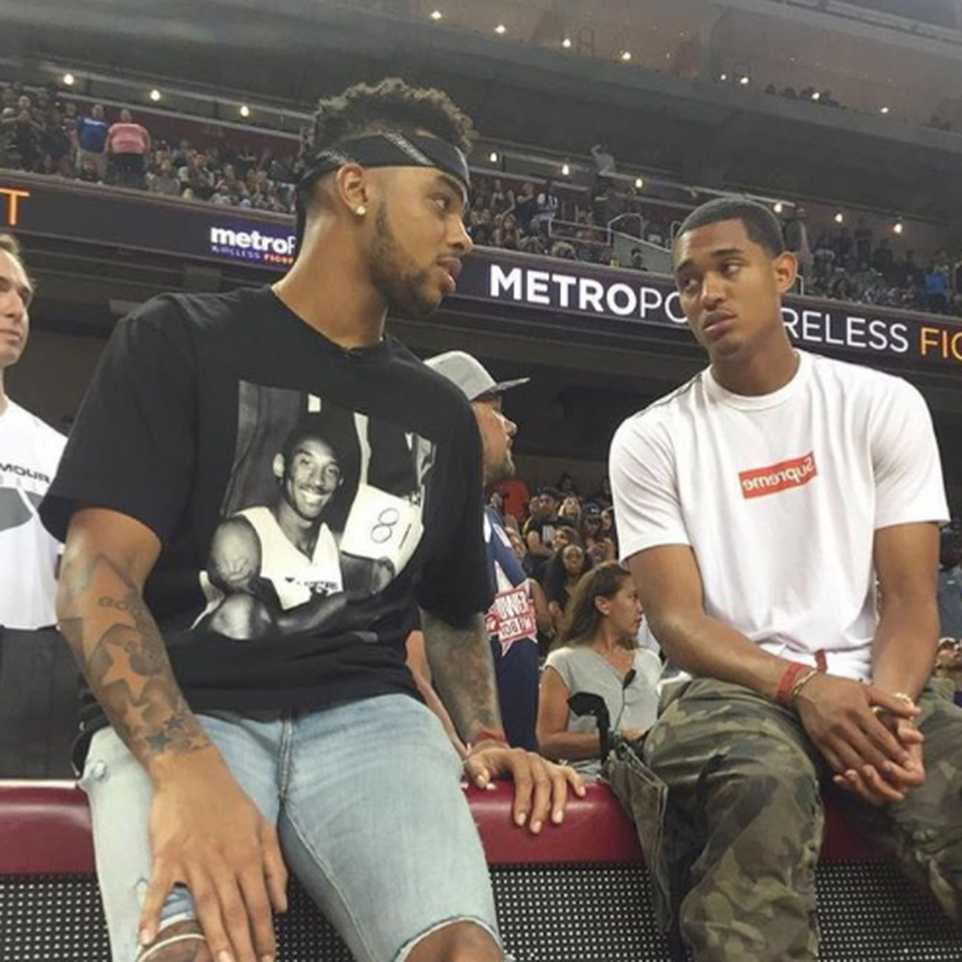 5d42ef1deac Lakers News  D Angelo Russell wears a Kobe Bryant shirt despite not talking  to him this summer