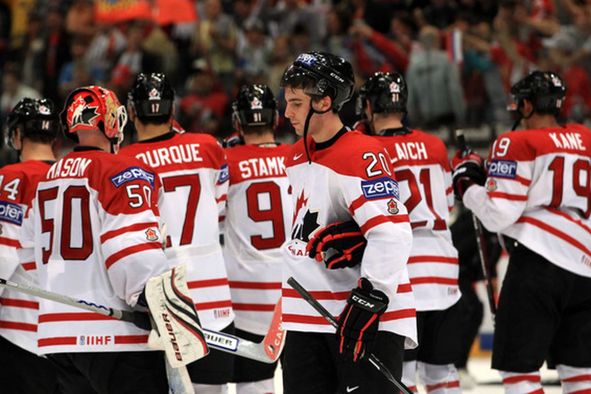 COLOGNE, GERMANY - MAY 20: John Tavares #20 of Canada looks dejected after the IIHF World Championship quarter final match between Russia and Canada at Lanxess Arena on May 20, 2010 in Cologne, Germany. (Photo by Martin Rose/Bongarts/Getty Images)