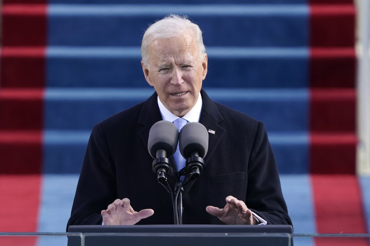 In this Wednesday, Jan. 20, 2021 file photo, President Joe Biden speaks during the 59th Presidential Inauguration at the U.S. Capitol in Washington.