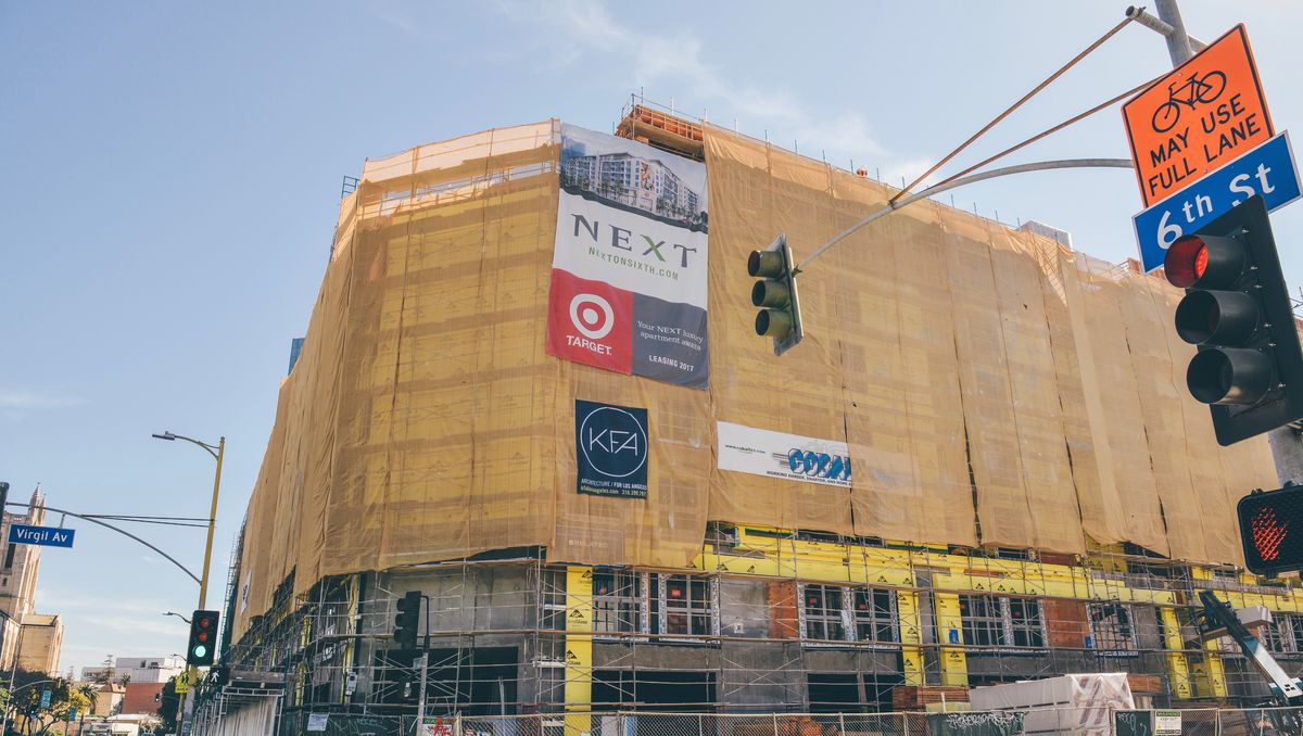View of the building with Target ad