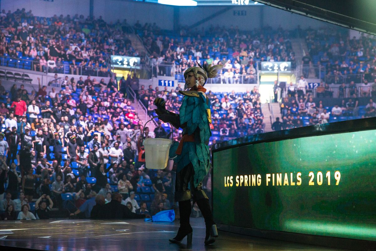 League of Legends character on stage at LCS Spring Finalsat Chaifetz Arena on April 13, 2019 in St Louis.