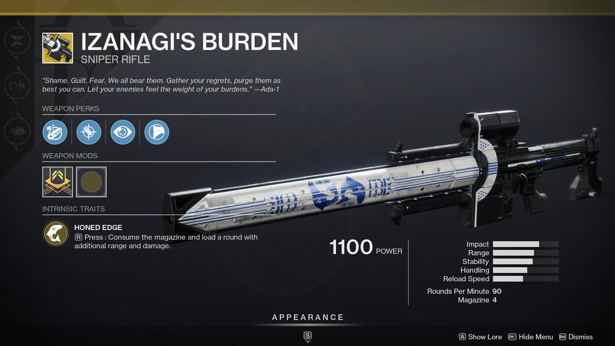Destiny 2' Izanagi's Burden sniper rifle