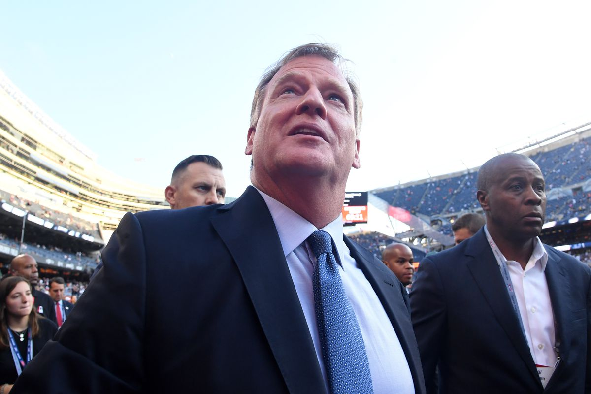 Commissioner of the National Football League Roger Goodell greets fans prior to the game between the Green Bay Packers and the Chicago Bears at Soldier Field.