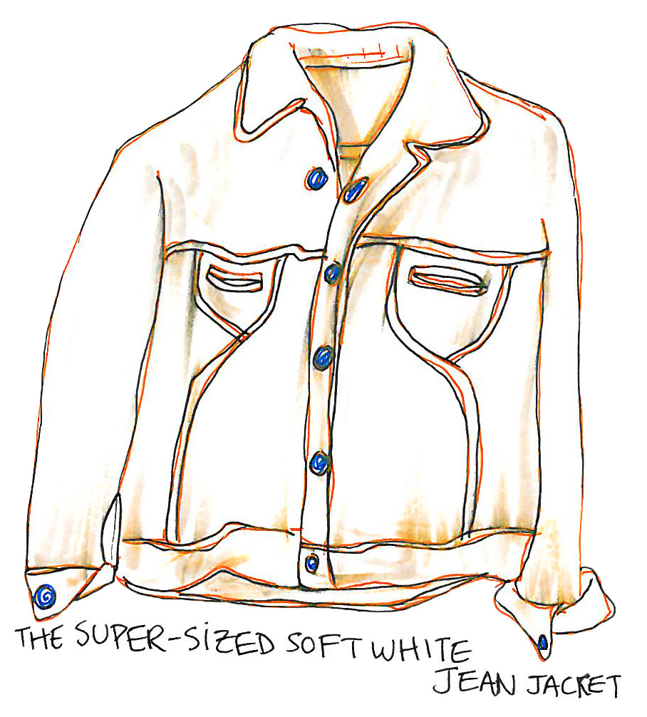An illustration of a white jean jacket