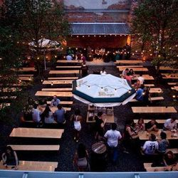 """<b>Dinner and drinks at <a href=""""http://www.frankfordhall.com/"""">Frankford Hall</a></b><br> Stephen Starr's biergarten in Fishtown has all the makings of an awesome party: beer, ping pong, foosball, German-style food (giant soft pretzels!), and a courtyar"""