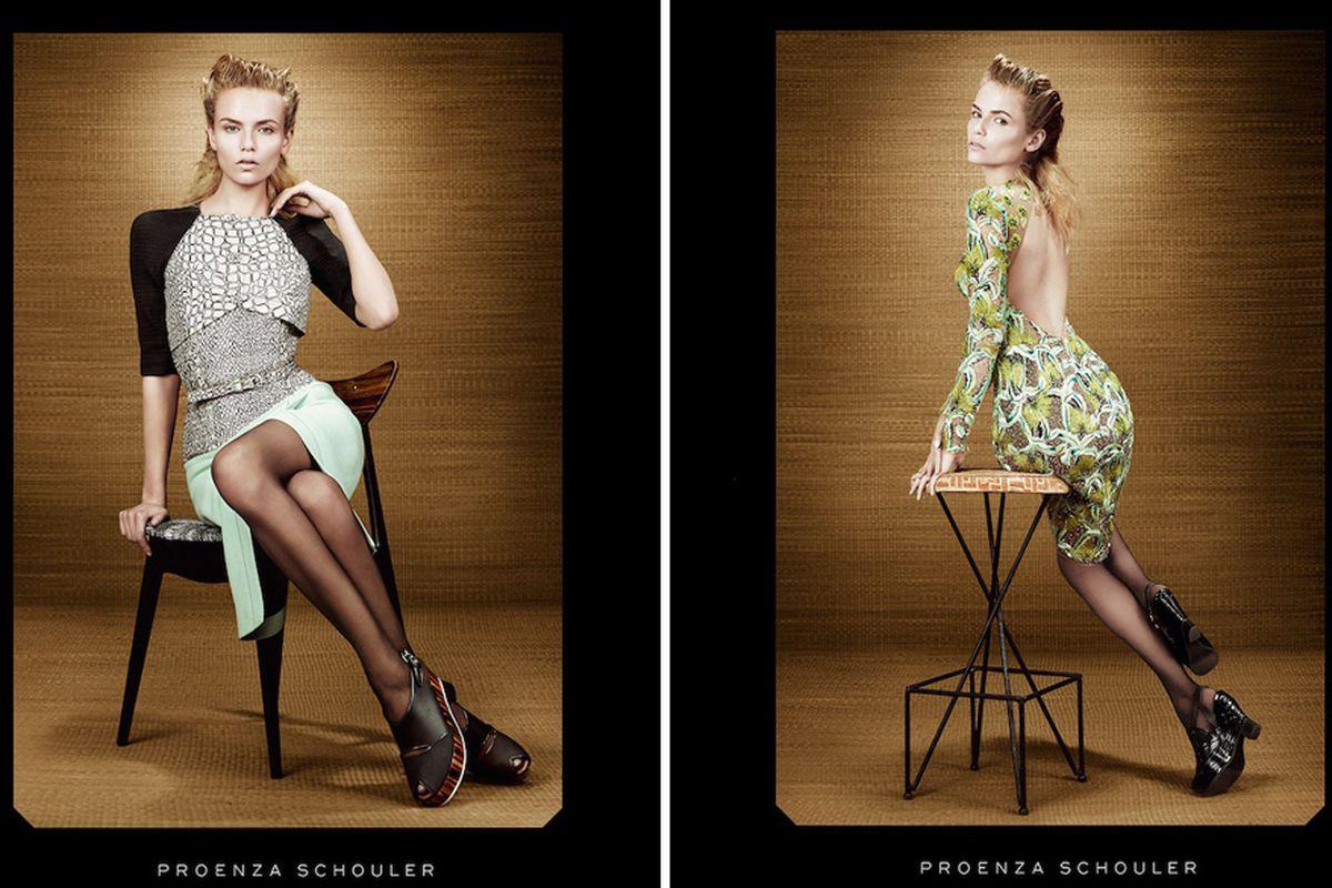 "Proenza Schouler's spring/summer 2012 ads via <a href=""http://fashionista.com/2012/01/natasha-poly-sits-on-different-chairs-for-proenza-schoulers-spring-2012-ad-campaign/"">Fashionista</a>"