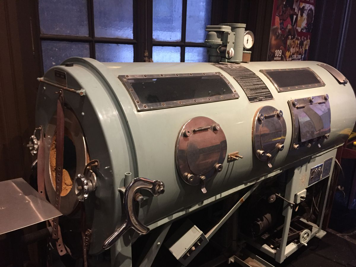 The International Museum of Surgical Science has a display on the ravages of polio before it was eradicated by vaccines, including this iron lung, used by those who could not breathe on their own. | Neil Steinberg/Sun-Times