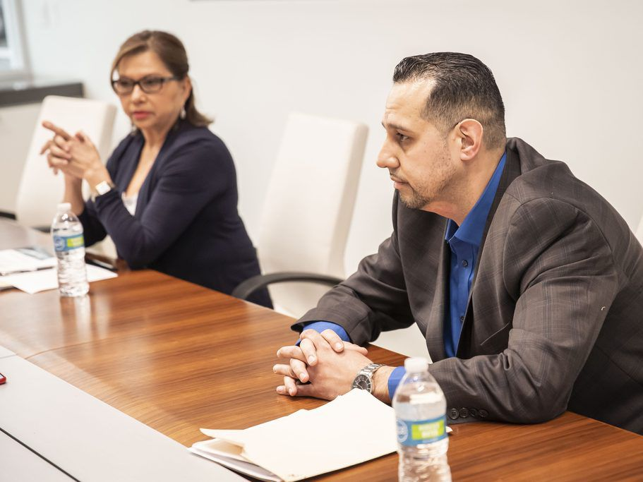 """31st Ward aldermanic candidates Milagros """"Milly"""" Santiago (incumbent, left ) and Felix Cardona Jr. met with the Sun-Times Editorial Board Tuesday, March 12, 2019. 