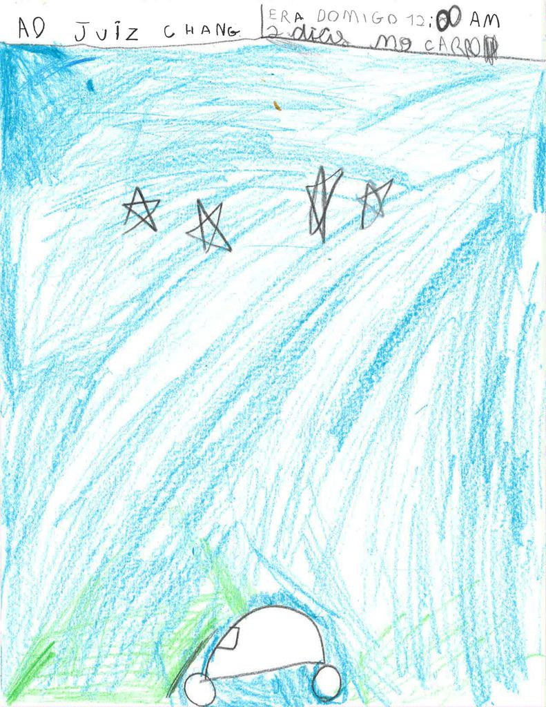 """Nine-year-old """"C.D.A."""" depicts his midnight car ride through Mexico with his father in this drawing. The pair fled Brazil to get away from a human trafficking organization and tried to enter the United States but were later taken into custody near the Mex"""