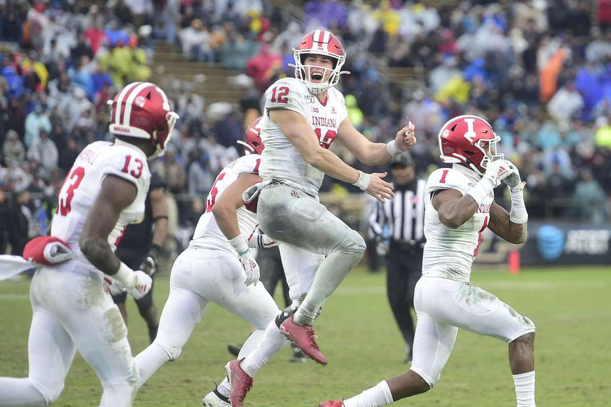 Indiana Hoosiers quarterback Peyton Ramsey jumps in the air after throwing a touchdown pass to receiver Whop Philyor in the second half against the Purdue Boilermakers at Ross-Ade Stadium.