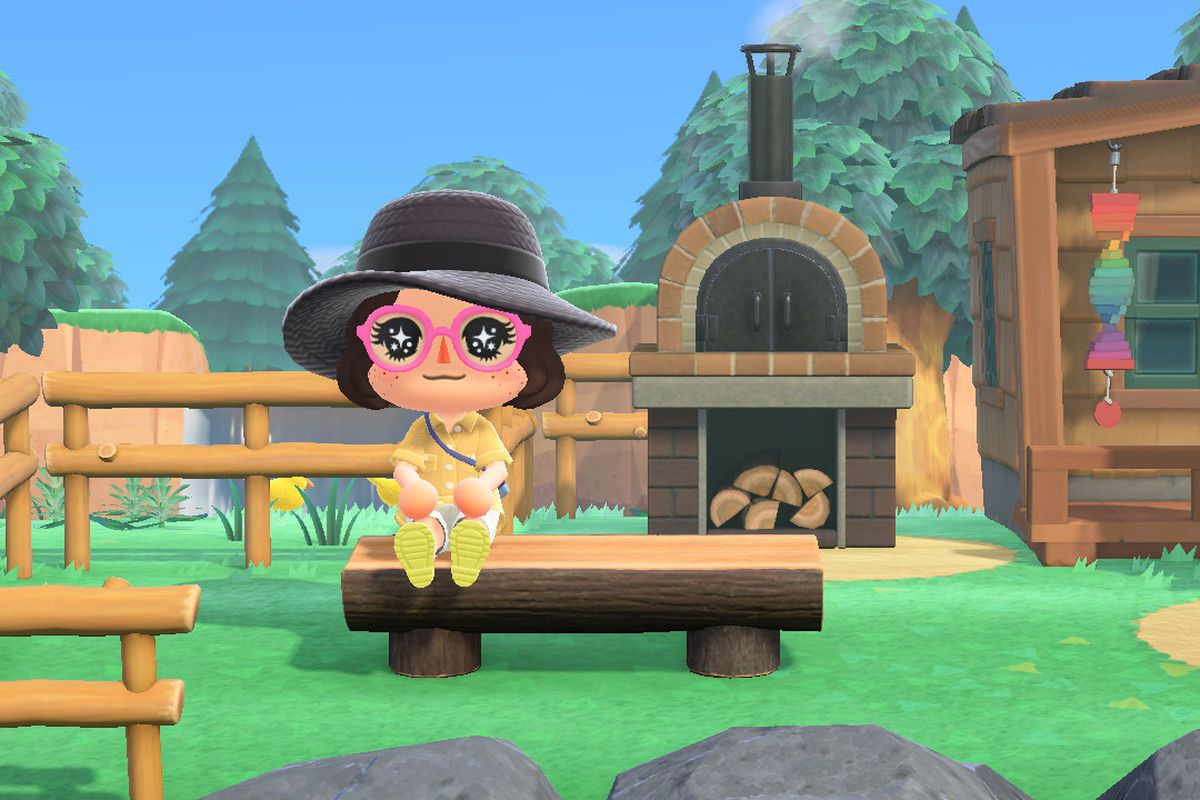 Animal Crossing human sitting on a bench on Harv's island
