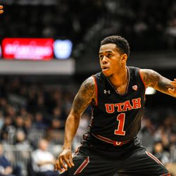 Utah's Justin Bibbins plays defense against Butler at Hinkle Fieldhouse in Indianapolis on Tuesday, Dec. 5, 2017. The Utes fell to the Bulldogs, 81-69.
