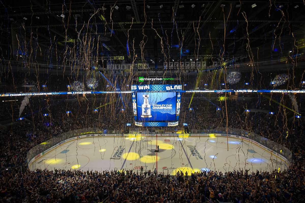 St. Louis Blues Fans Gathering To Watch Game Seven Of Stanley Cup Finals Against The Boston Bruins