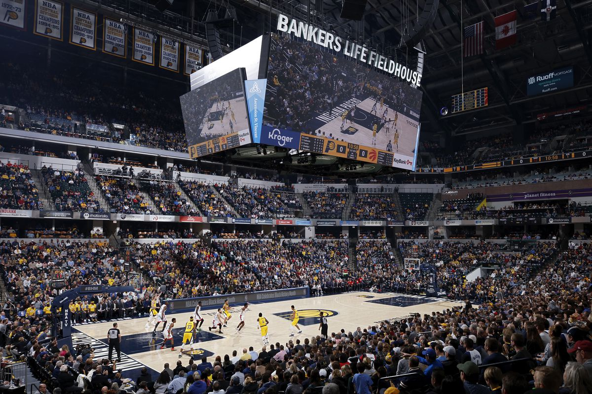 General view of the game between the Indiana Pacers and Toronto Raptors at Bankers Life Fieldhouse on February 7, 2020 in Indianapolis, Indiana.