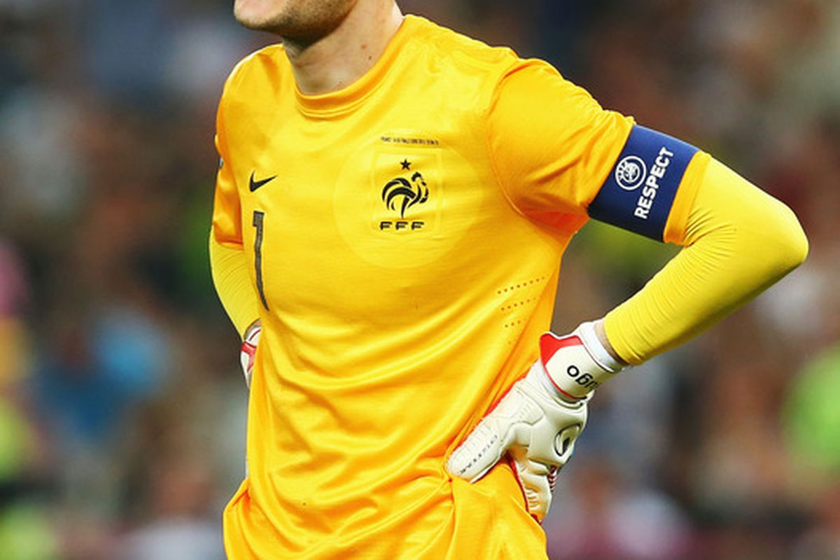 DONETSK, UKRAINE - JUNE 23: Hugo Lloris of France looks dejected during the UEFA EURO 2012 quarter final match between Spain and France at Donbass Arena on June 23, 2012 in Donetsk, Ukraine.  (Photo by Martin Rose/Getty Images)