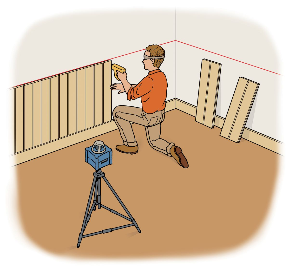 Person installing wainscot on a wall and using a laser level to help mark the height.
