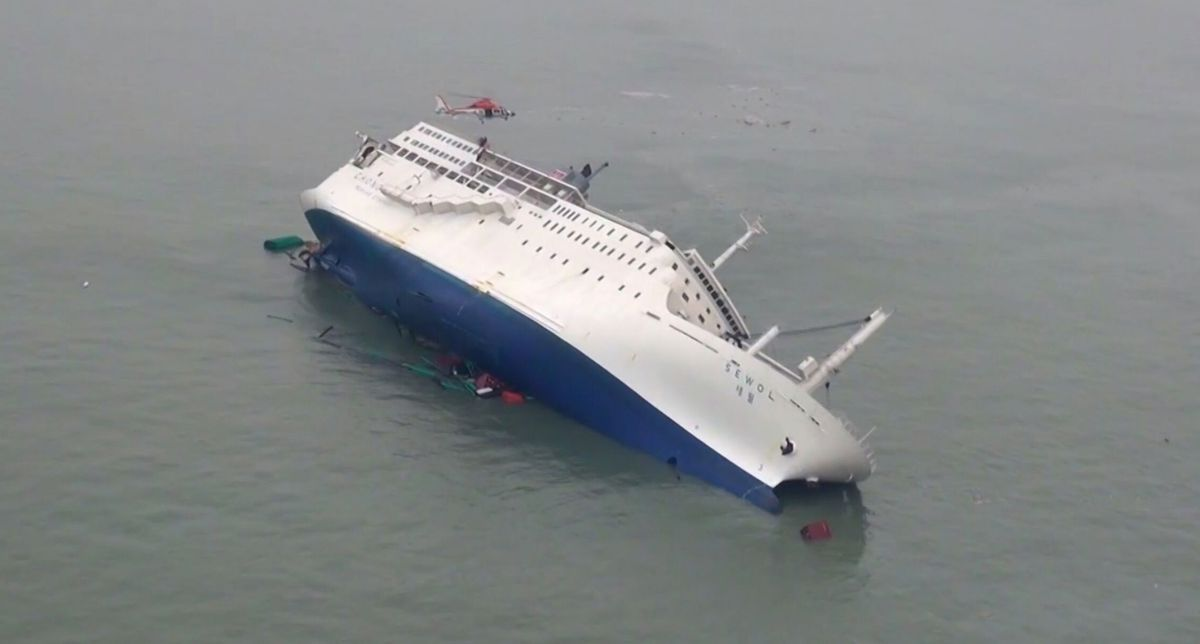 The South Korean ferry the Sewol slowly sinking in the documentary In the Absence