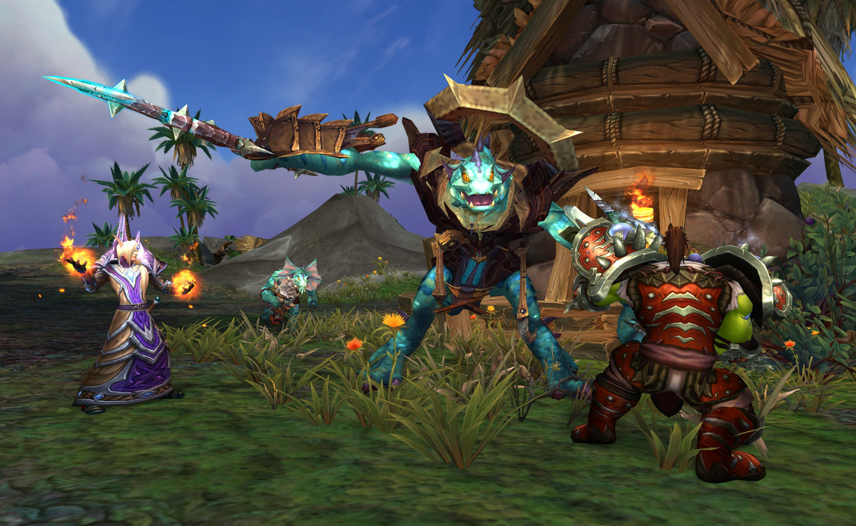 A Horde party fight an enemy on an Island Expedition.