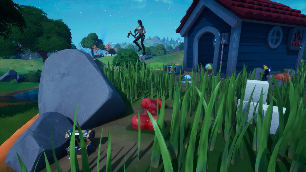 A Fortnite player at Ant Manor completing the season 4 challenge