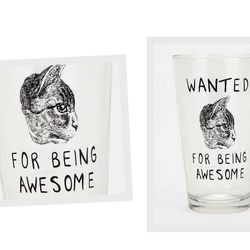 """Also from Urban Outfitters, the <a href=""""http://www.urbanoutfitters.com/urban/catalog/productdetail.jsp?id=18466110y"""">Wanted Cat Pint Glass</a>, $8."""