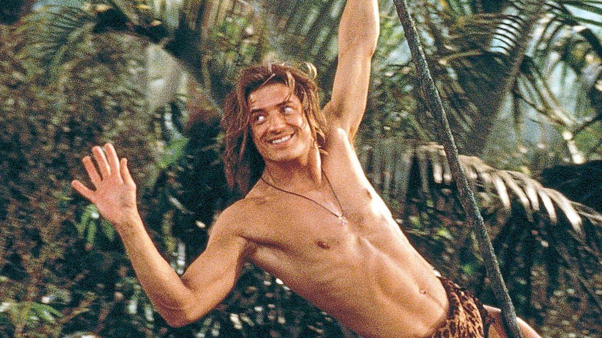 george of the jungle swining on a vine