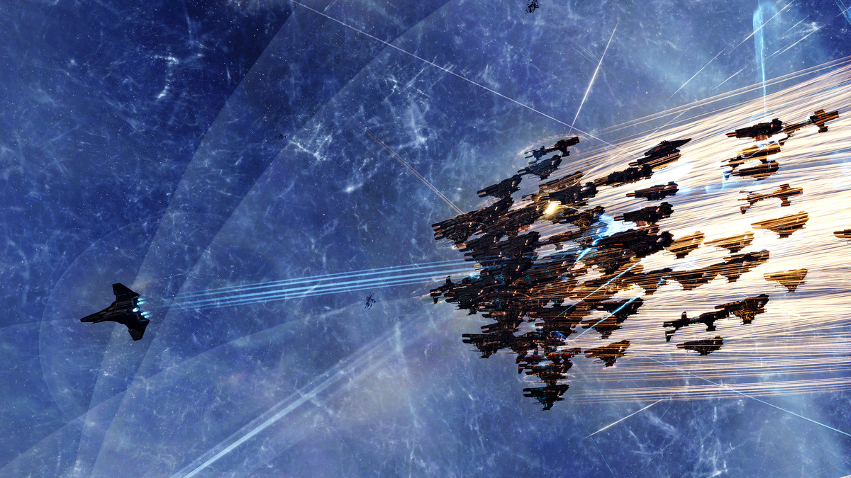A large formation of ships chases a single, large ship out of Delve on Aug. 3, 2020.