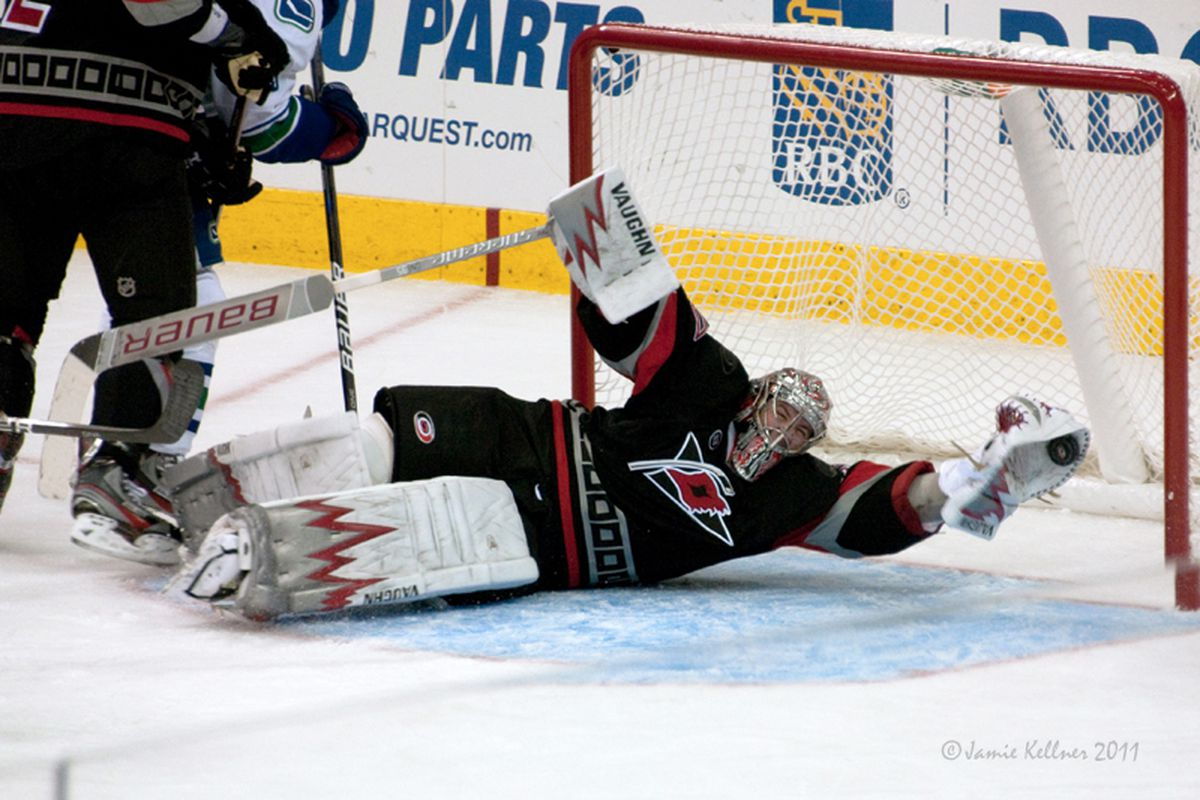"""Cam Ward's sprawling save on Keith Ballard is a stop that will be long-remembered. (Photo by <a href=""""http://www.flickr.com/photos/jbk-ltd/collections/72157619609115405/"""">Jamie Kellner</a>)"""