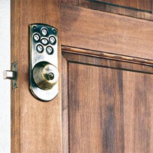 <p><strong>Electronic Deadbolt</strong><br> A four-digit access code is all it takes to unlock this electronic deadbolt. You can change the codes as often as necessary and even give temporary ones to painters, baby-sitters, and house cleaners. It runs on four AA batteries — no small feat considering that it takes a bit of torque to turn a deadbolt. A warning light an-nounces when the batteries are getting low, but if you don't change them in time, you can still unlock it the old-fashioned way: w