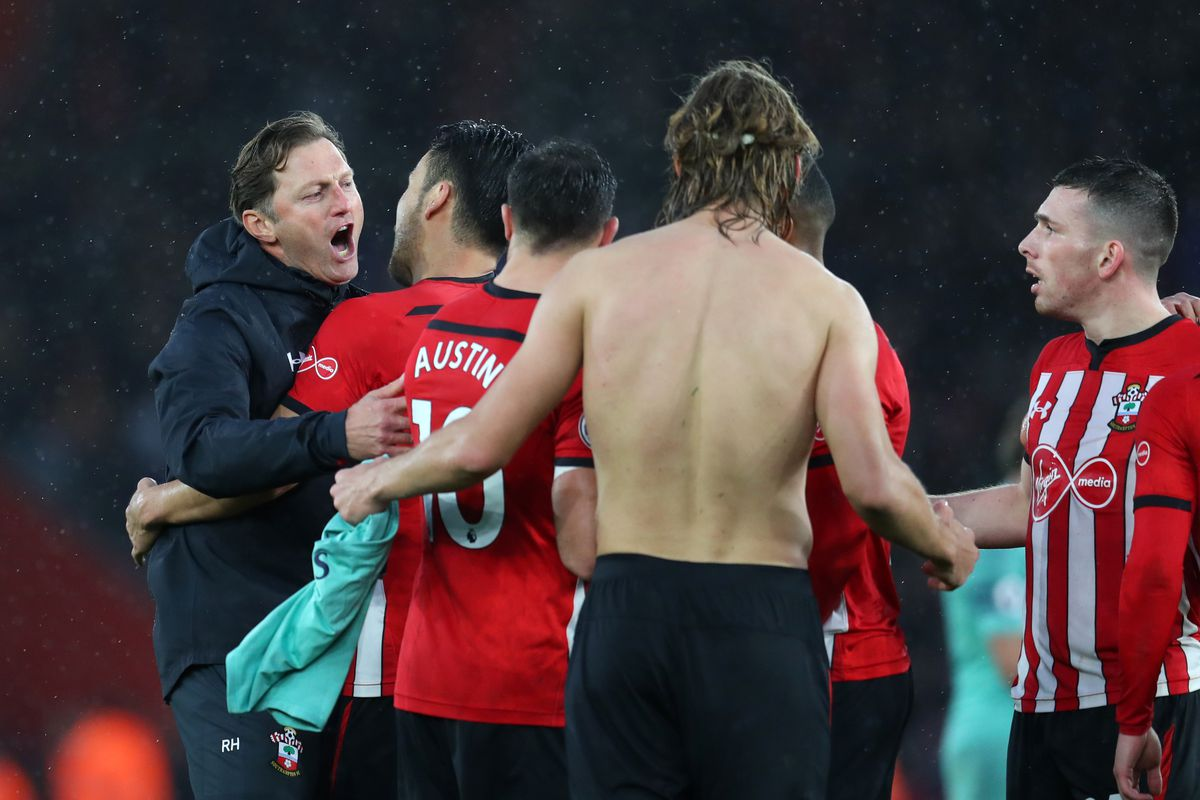 Ralph Hasenhuttl celebrating with Southampton players after they defeated Arsenal
