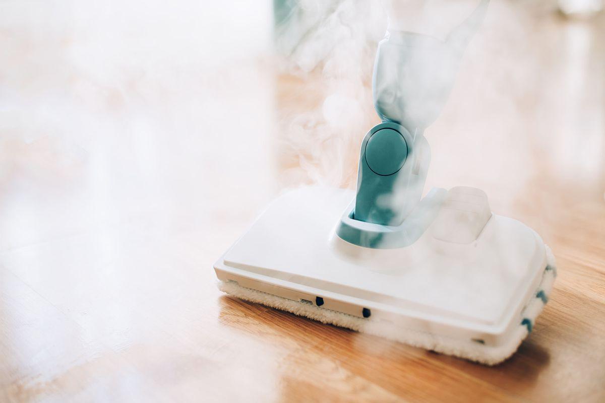 Steam Mopping Floor