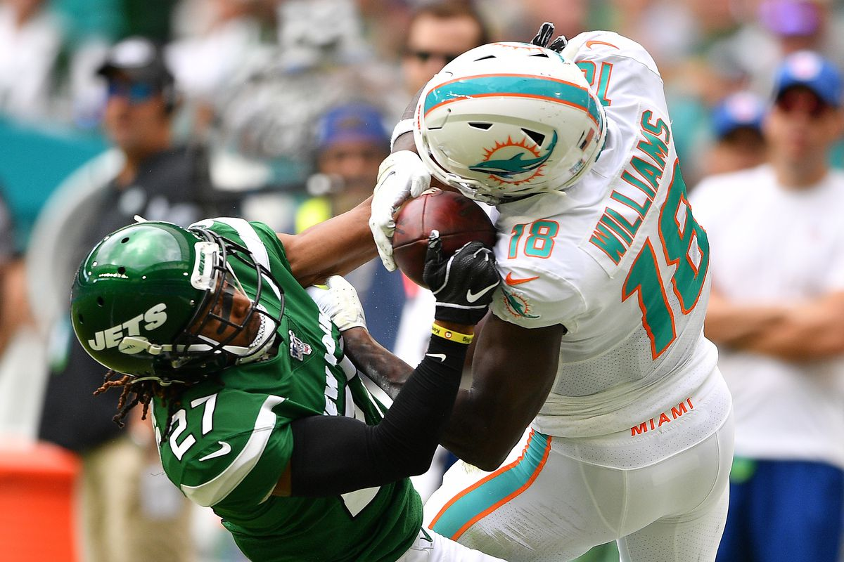 Preston Williams of the Miami Dolphins makes the catch against Darryl Roberts of the New York Jets in the first quarter at Hard Rock Stadium on November 03, 2019 in Miami, Florida.