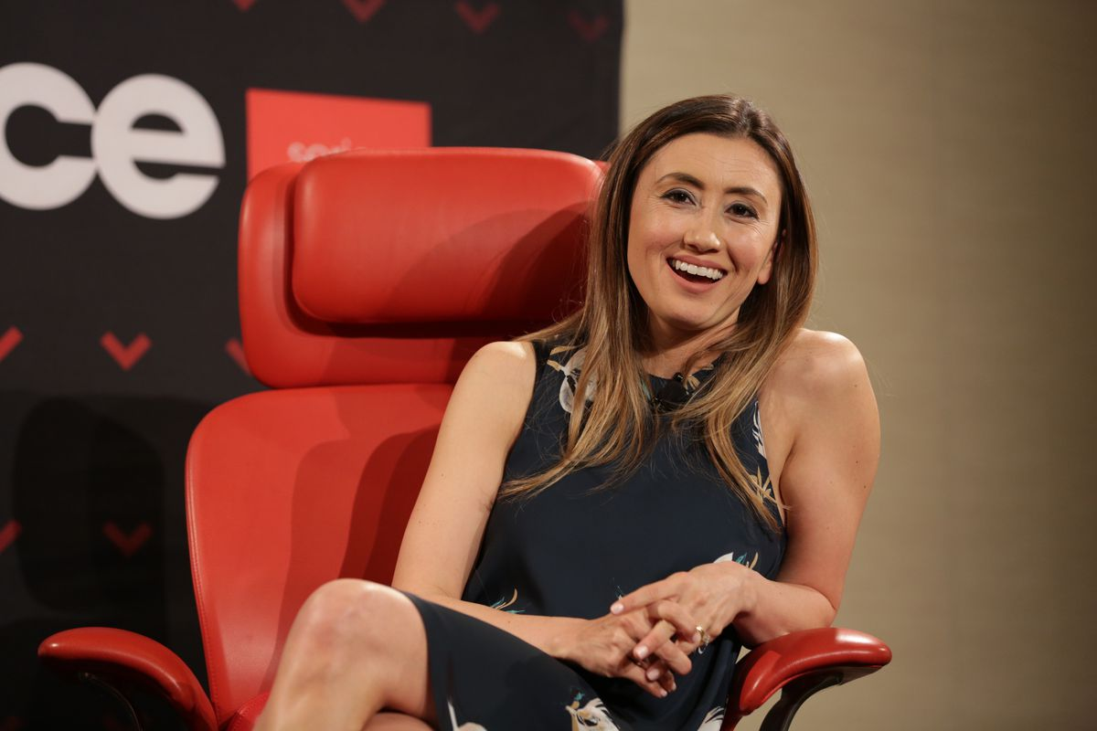 Stitch Fix founder and CEO Katrina Lake being interviewed onstage at Recode's 2017 Las Vegas Code Commerce event.