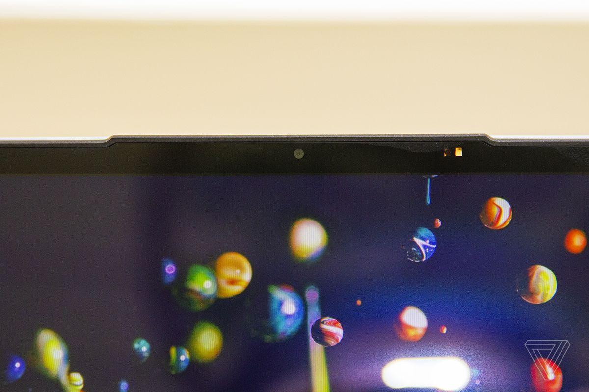 The Lenovo IdeaPad Slim 7's webcam up close.
