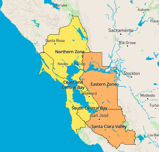 A color-coded map of air quality in the Bay Area, with Contra Costa and Santa Clara Counties colored orange to indicate worsening conditions.