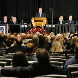 Elder Jeffrey R. Holland speaks as family, friends and former team members gather to honor former BYU football coach LaVell Edwards at a memorial service at the Provo Convention Center on Friday, Jan. 6, 2017.