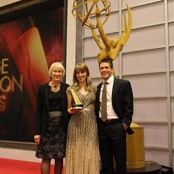 """""""Estefan"""" producer Lauren Taylor, center, stands with her mother and husband at the awards ceremony."""
