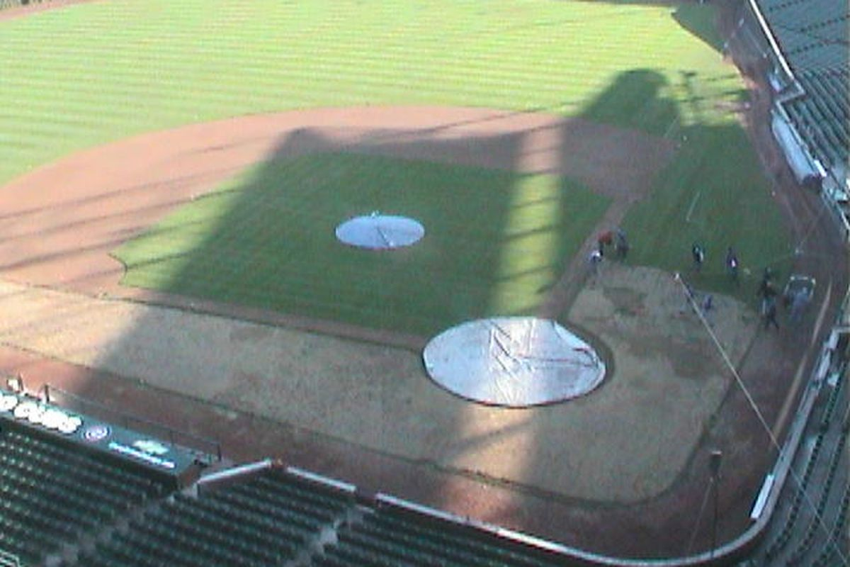 Parts of Wrigley Field are being resodded this month. Photo taken at 8:45 am, 10/13/09, from Wrigley webcam
