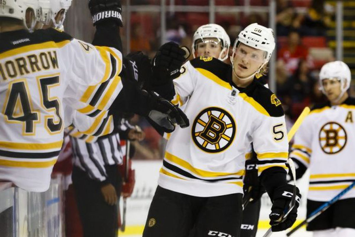 Danton Heinen shines against the Flyers among young Bruins skaters.