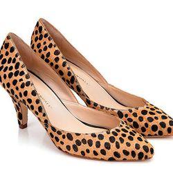 "<a href=""http://www.loefflerrandall.com/LRProduct.aspx?ProductID=783&CategoryID=17"">Loeffer Randall's cheetah printed haircalf Tamsin pump</a>, $350"