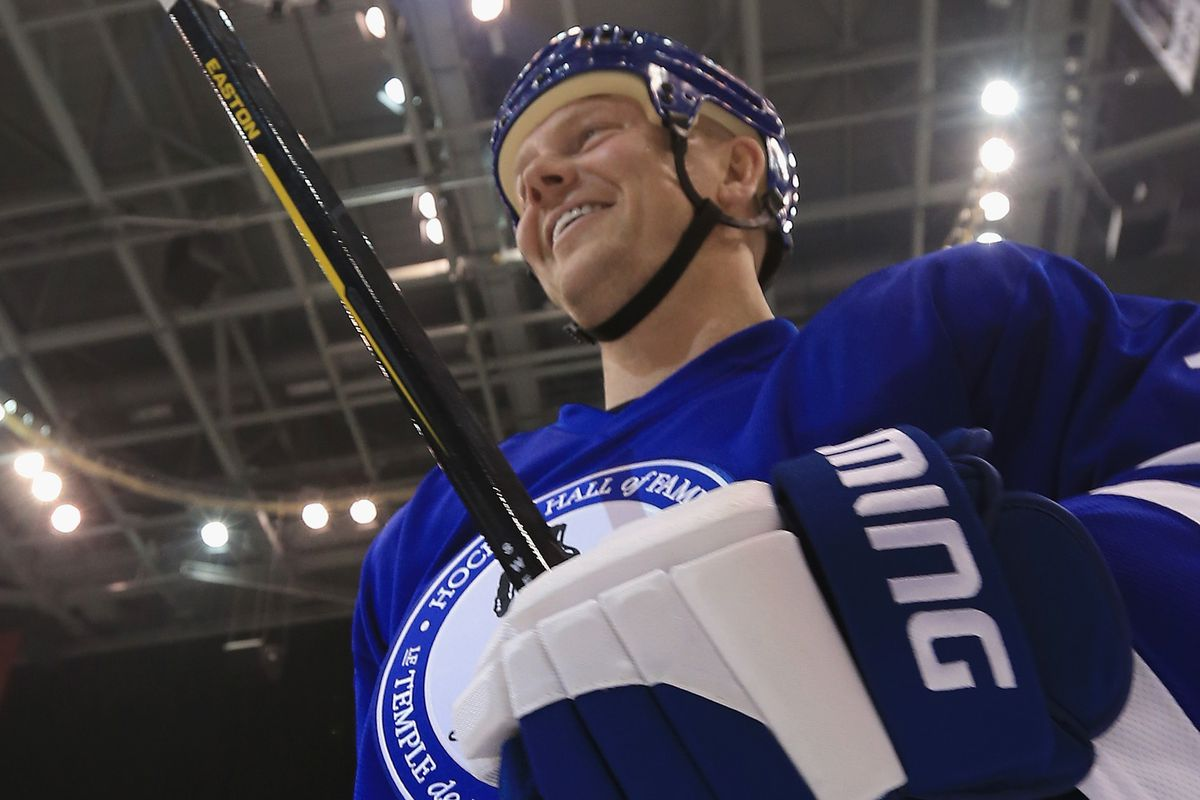 Sundin in his Hall of Fame sweater.