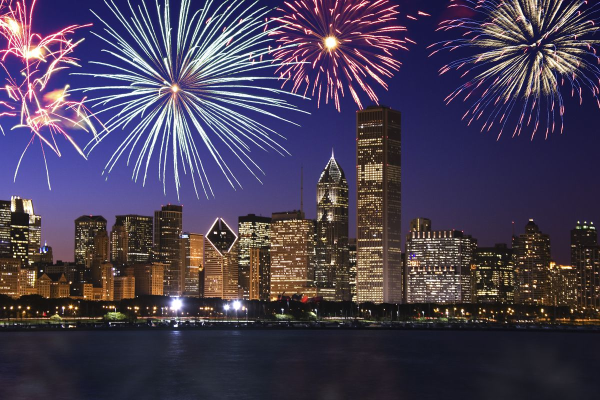 chicago with fireworks