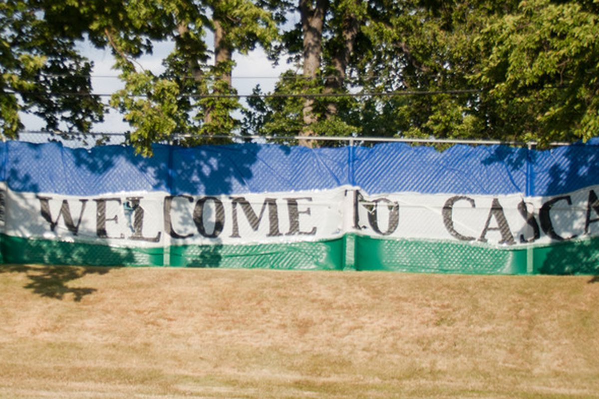 """""""Welcome to Cascadia"""" banner at Victoria Highlanders v. Port Vale"""