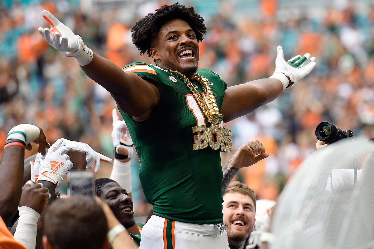 University of Miami lineman Gregory Rousseau wears the turnover chain against Central Michigan during the first half of their game on Saturday, Sept. 21, 2019.