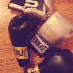 Went boxing today, which I haven't done in ages. Took me forever to track down gold gloves, but I usually use the black ones.