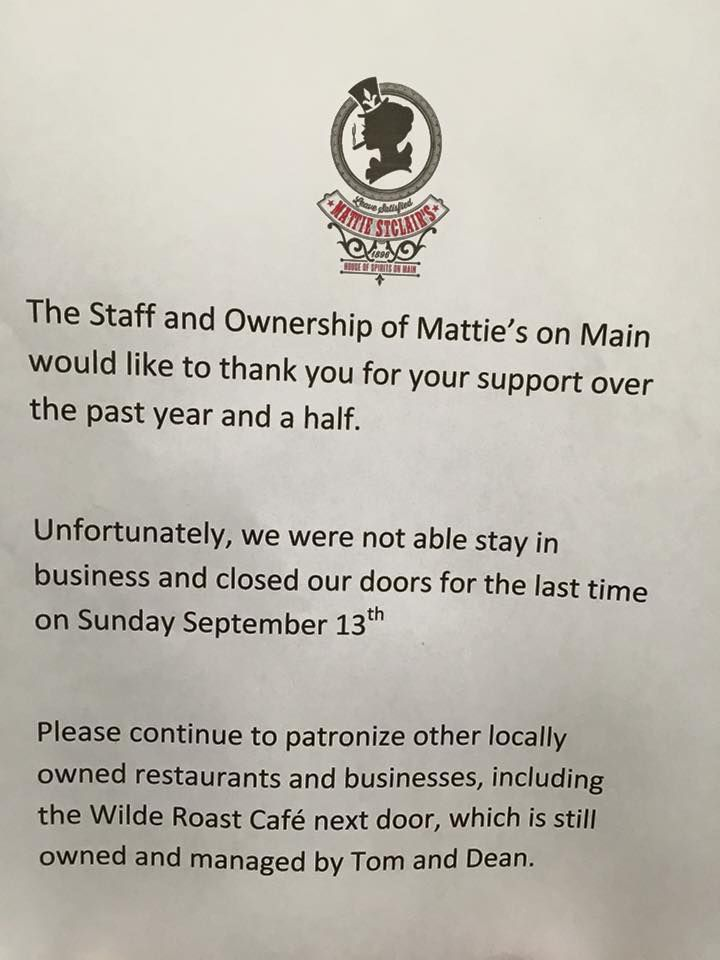 A farewell from Mattie's on Main. Photo courtesy Facebook.