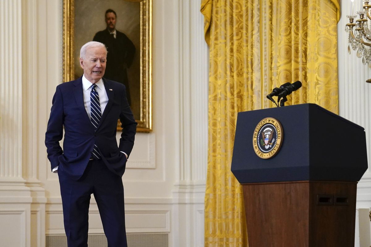 President Joe Biden steps away from the podium as he speaks during a news conference in the East Room of the White House, Thursday, March 25, 2021, in Washington.